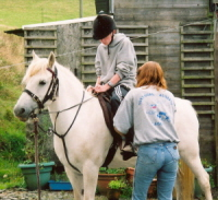 Giving a pony ride to one of my nephews...