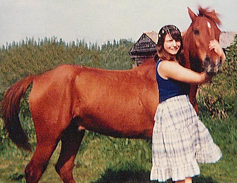 The author as a child with her standard chestnut Anglo-Arab